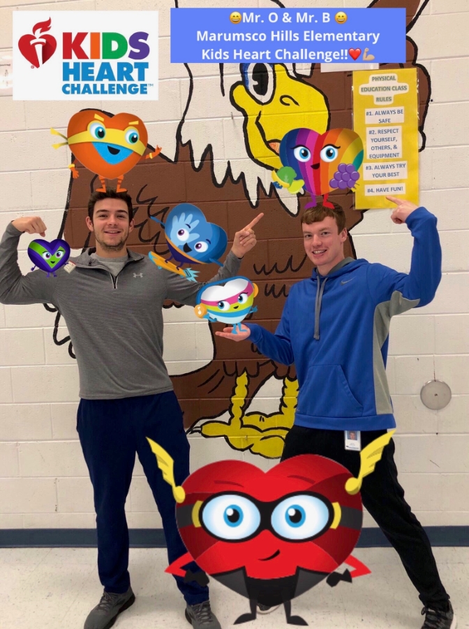 Picture of Mr. B & Mr. O with Kids Heart Challenge characters!